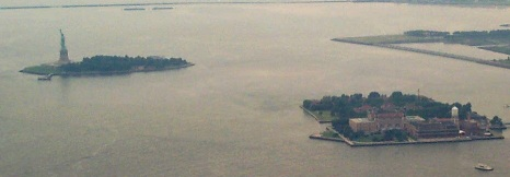 1025 from wtc: The Statue of Liberty and Ellis Island from the World Trade Center.  July 17, 2001.