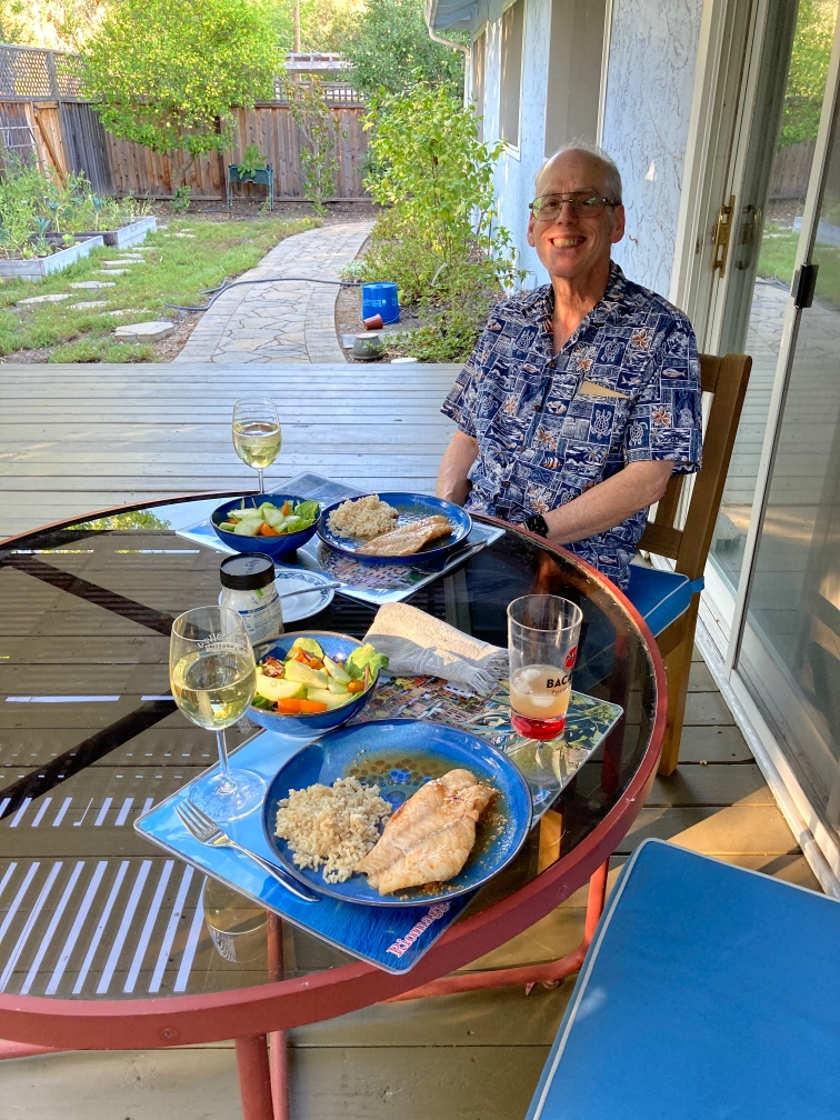 Dinner (Asian Fish Parcels) on the deck
